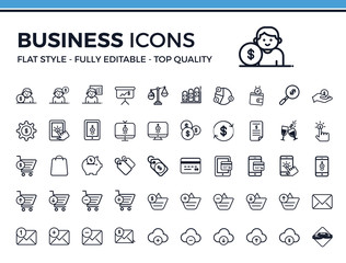 Set of Business Related Vector Line Icons. Contains such Icons as Money, Statistics, Bar Charts, Money, Credit Card and more. Fully Editable. Neatly Done.
