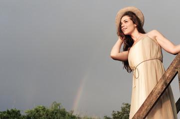 Foto auf Leinwand Fantasie-Landschaft Young beautiful woman (model-released)