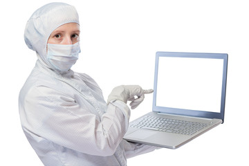 Chemist pointing to the laptop screen isolated for an inscriptio