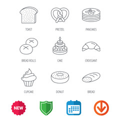 Croissant, pretzel and bread icons. Cupcake, cake and sweet donut linear signs. Pancakes, toast and bread rolls flat line icons. New tag, shield and calendar web icons. Download arrow. Vector