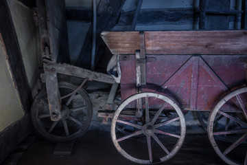 The old wheel of a cart in barn