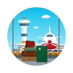 Icon, View on Airplane and Control Tower through the Window from a Waiting Room with Retro Colored Suitcases and Trolley Suitcase and Travel Bag , Luggage Bags for Traveling , Travel and Tourism