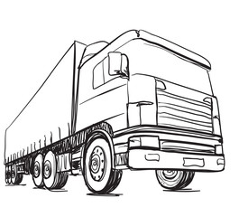 Sketch logistics and delivery poster. Hand drawn truck