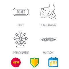 Ferris wheel, ticket and theater masks icons. Mustache linear sign. Shield protection, calendar and new tag web icons. Vector