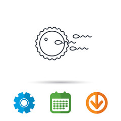 Family planning icon. Fertilization sign. Calendar, cogwheel and download arrow signs. Colored flat web icons. Vector