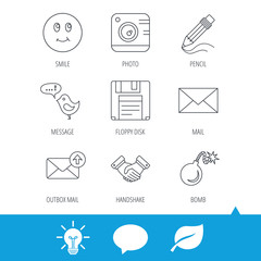 Photo camera, pencil and handshake icons. Inbox e-mail, message speech bubble and smile linear signs. Light bulb, speech bubble and leaf web icons. Vector