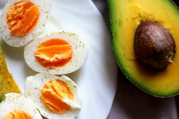 Healthy breakfast - avocado and eggs