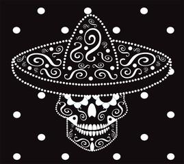 Skull vector with Mexican sombrero, vector