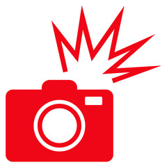 Camera Flash flat icon. Vector red symbol. Pictogram is isolated on a white background. Trendy flat style illustration for web site design, logo, ads, apps, user interface.
