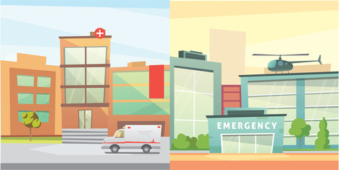 Set Hospital building cartoon modern vector illustration. Medical Clinic and city background. Emergency room exterior.