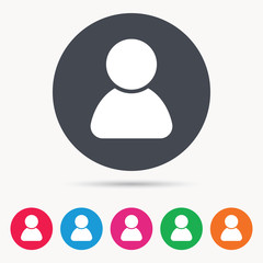 User icon. Human person symbol. Avatar login sign. Colored circle buttons with flat web icon. Vector