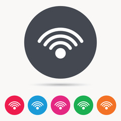 Wifi icon. Wireless internet sign. Communication technology symbol. Colored circle buttons with flat web icon. Vector