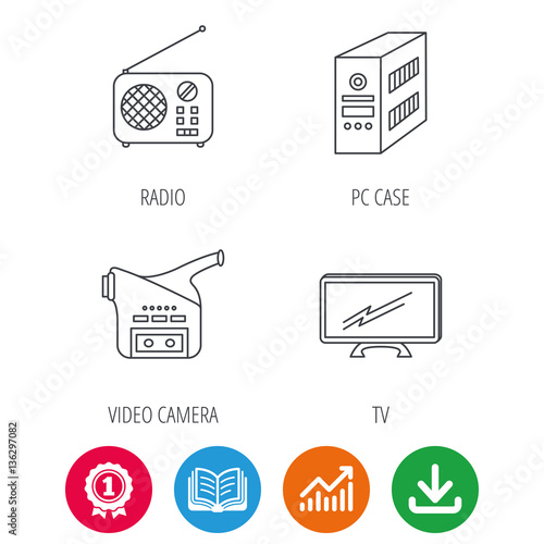 Radio, TV and video camera icons  PC case linear sign  Award