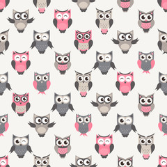 pattern with colorful owls