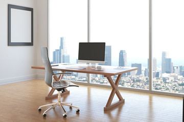 Office interior with city view