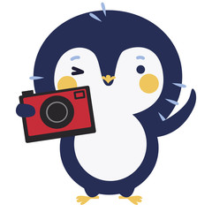 Cute penguin with photo camera