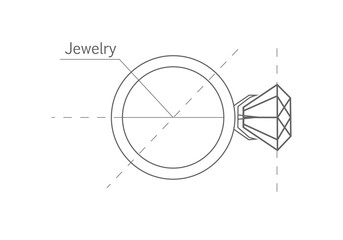 Ring with Diamond, Graphic Scheme.