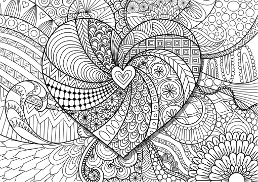 Hearted shape on floral background for Valentine's card, wedding invitation and adult coloring book pages.