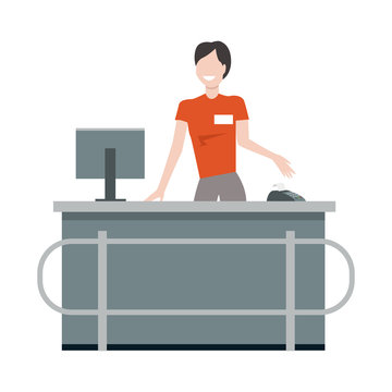 Cashier behind the store counter illustration.