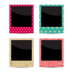 vector set of four colofrul vintage photo frames
