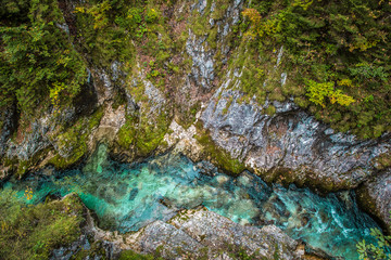 Leutaschklamm - wild gorge with river in the alps of Germany