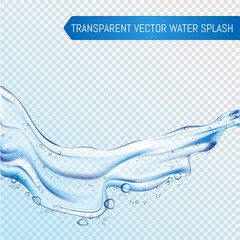 Vector Blue water splash and drops isolated on transparent background. eps 10