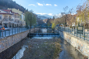 The picturesque centre of Florina, Greece. River crossing across