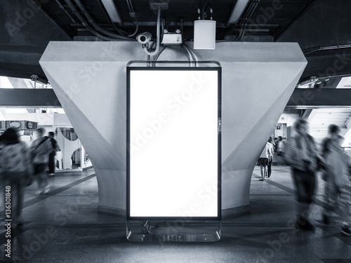 blank billboard banner mock up light box template vertical sign