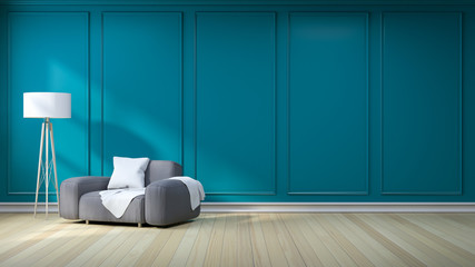 Minimalist  interior design,dark gray sofa with lamp on green - blue dark wall and hardwood flooring , 3d render