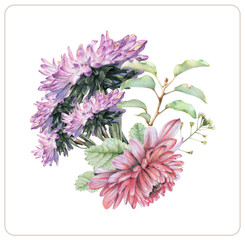 Composition of different spring flowers and plants drawn by hand with colored pencils. Pencil drawing. Floral bouquet, ikebana