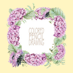 Square frame with beautiful spring flowers and plants drawn by hand with colored pencils. Pencil drawing. Place for text. Can be used as postcard, illustration