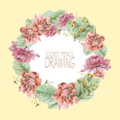 Round frame with beautiful spring flowers and plants drawn by hand with colored pencils. Pencil drawing. Place for text. Can be used as postcard, illustration