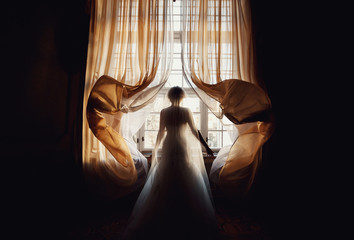 lonely bride looks in the window