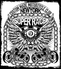 Vintage retro illustration typography t-shirt printing motorcycl