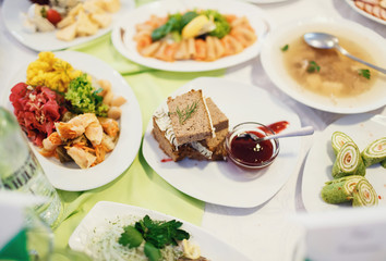 Food at the wedding table