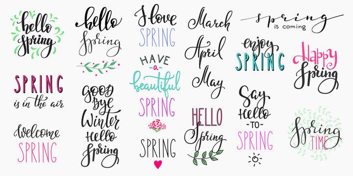 Hello spring lettering typography big set