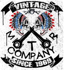 Boho motor company skull typography, t-shirt graphics