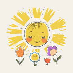 Cute little sun and flowers cartoon hand drawn vector illustration. Can be used for baby t-shirt print, fashion print design, kids wear, baby shower celebration greeting and invitation card.