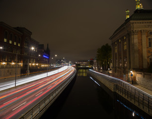 Night traffic in Stockholm. Sweden. 05.11.2015