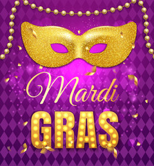Fototapeta Gold glitter mask for Mardi Gras Tuesday carnival party poster on purple background with rhombus texture and confetti. Celebration greeting card. Vector illustration obraz