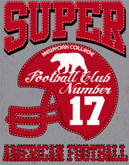 Football sport typography; t-shirt graphics