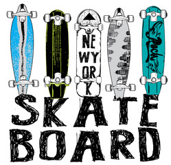 Skate board typography, t-shirt graphics