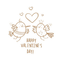 Card by Valentine's Day. Couple in love. Cute cartoon birds. Funny animals. Vector contour  image no fill. Symbol of heart.