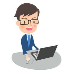 パソコンを操作する男性会社員 タイトル変更