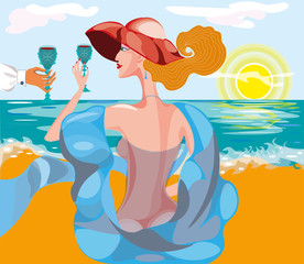 vector illustration with a beautiful woman in hat and blue scarf with a glass of red wine near the sea beach