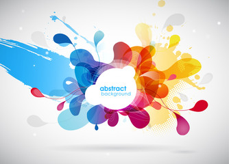 Abstract colored flower background with circles and brush stroke