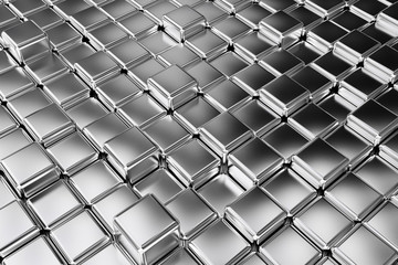 Silver squares extruded abstract background , 3d
