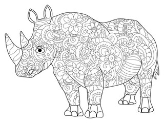 hippopotamus Coloring book vector for adults