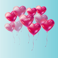 Heart balloons flying vector decoration. Red Heart balloons isolated on blue sky. Heart romance love symbol for Valentine's Day, Birthday, Wedding, celebration greeting cards, invitation, advertising.