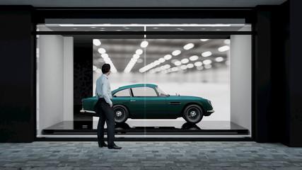 Schaufenster mit klassischem Automobil und Besucher